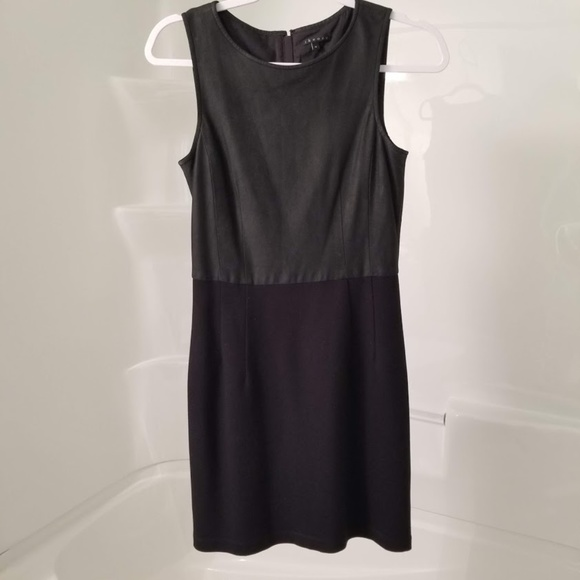 Theory Dresses & Skirts - Theory Perfect LBD with Goat Leather Bodice!